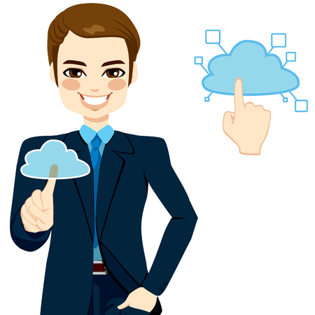 accessing: Handsome businessman touching the cloud accessing on-line networking services concept illustration