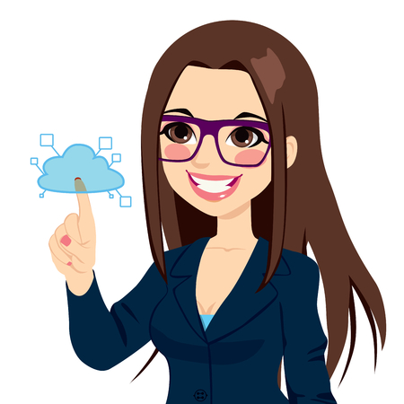 брюнет: Концепция Молодой предприниматель трогательно услуг облачных вычислений иллюстрации, изолированных на белом фоне