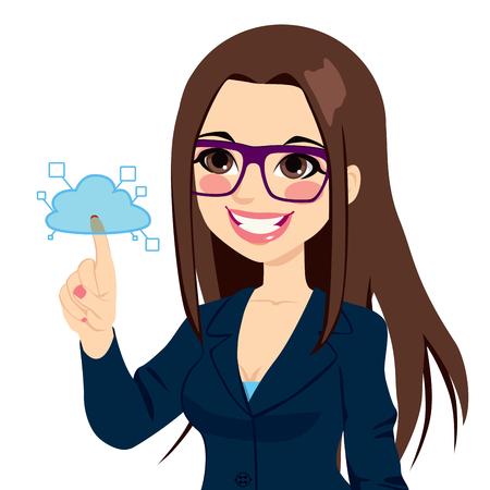 Jonge zakenvrouw aanraken cloud computing-diensten concept illustratie geïsoleerd op witte achtergrond