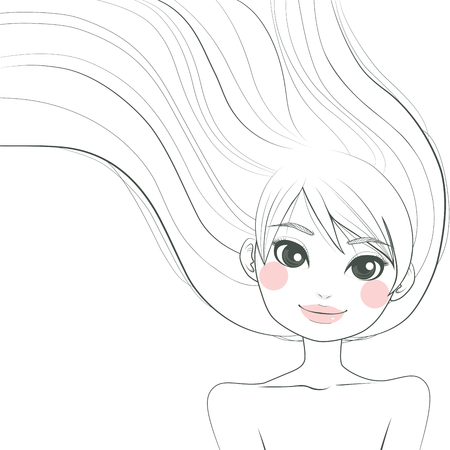 Line art hand drawn illustration of a beautiful woman with long hair waving freely with the wind Vector