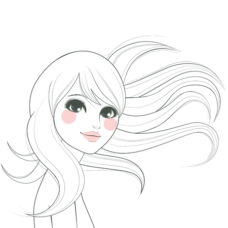 Stylized line art drawing of a beautiful woman with long hair waving with the wind Vector
