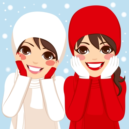 cheeks: Two beautiful brunette women friends in warm red and white clothing outdoors on winter snow day with hands on cheeks