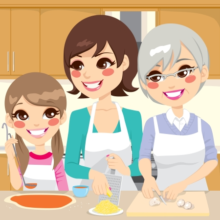 little dough: Three generation family preparing a delicious homemade pizza happy together in house kitchen Illustration