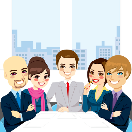 Five businesspeople at office smiling together happy sitting around meeting table Ilustração