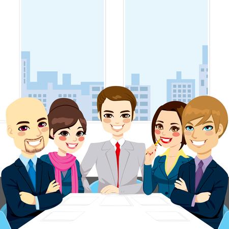 Vijf ondernemers op kantoor lachende gelukkig samen zitten rond de vergadertafel