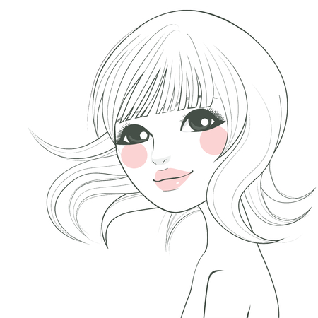 asian art: Stylized line art illustration of a beautiful Asian woman with short hair and sweet face
