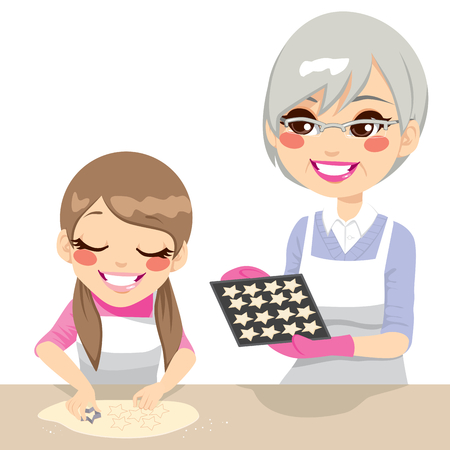 Little girl and grandmother making star shaped gingerbread cookies together isolated on white background Stock Vector - 24506909