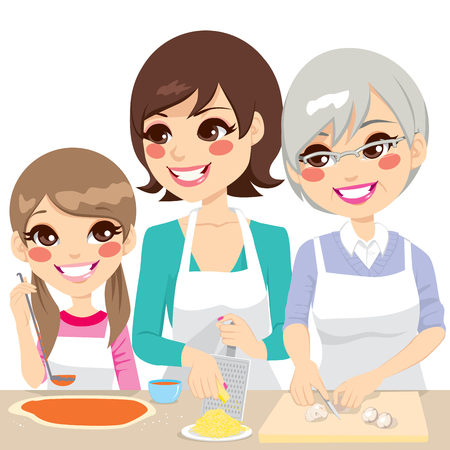 daughter: Daughter, mother and grandmother family together cooking a delicious homemade pizza with fresh ingredients