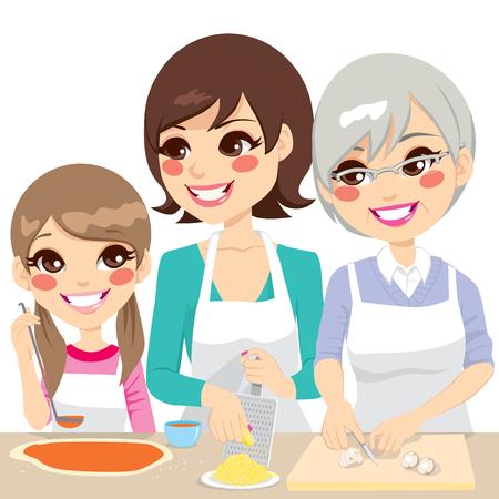 family together: Figlia, madre e nonna famiglia insieme cucinare una deliziosa pizza fatta in casa con ingredienti freschi