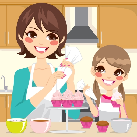 cake decorating: Mother and daughter decorating sweet cupcakes together with strawberry cream in kitchen