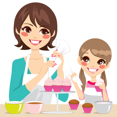 mum and daughter: Mother and daughter family decorating delicious cupcakes with strawberry cream isolated on white background