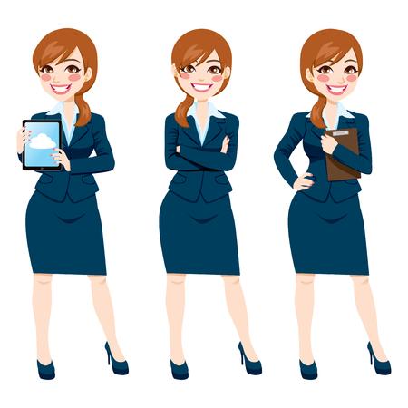 Mooie brunette zakenvrouw op drie verschillende poses, full body illustratie op een witte achtergrond