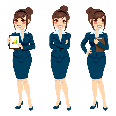 senhora: Empresária Linda morena com cabelos pão que levanta em três poses diferentes de corpo inteiro isolado no fundo branco