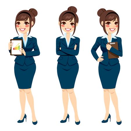 Mooie brunette zakenvrouw met haar broodje stellen op drie verschillende full body poses op een witte achtergrond