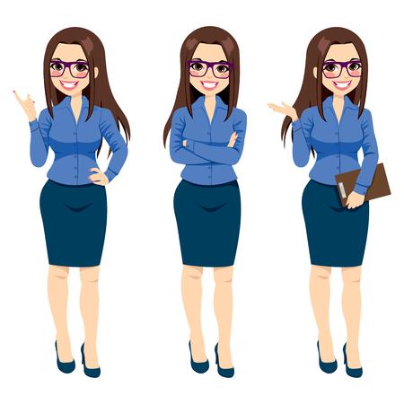 Drie verschillende full body illustratie van mooie brunette zakenvrouw met een bril poseren maken van gebaren