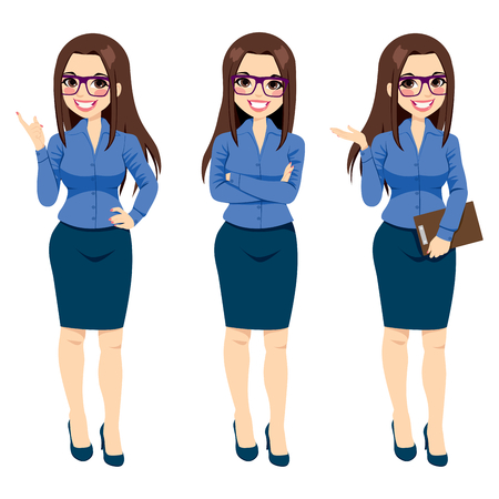 beautiful girl cartoon: Three different full body illustration of beautiful brunette businesswoman with glasses posing making gestures