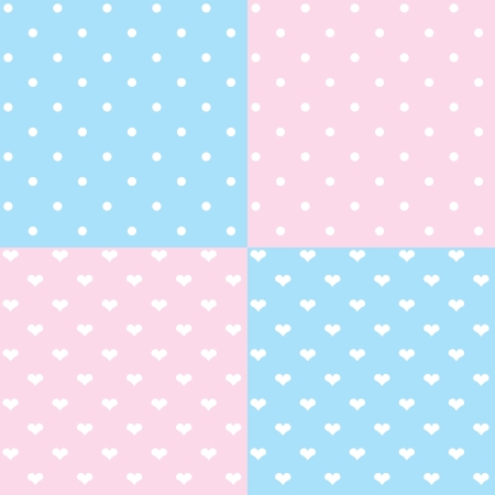 Cute seamless patterns collection of white dots and hearts  Vector