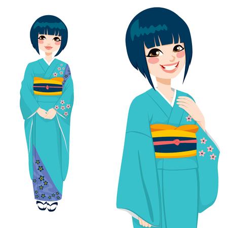 donna giapponese: Bella donna giapponese che indossa un kimono verde e viola blu con fiori delicati