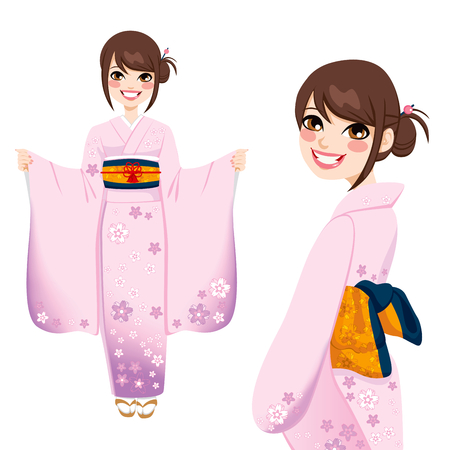 Beautiful japanese woman wearing pink and violet kimono with delicate flowers Vector