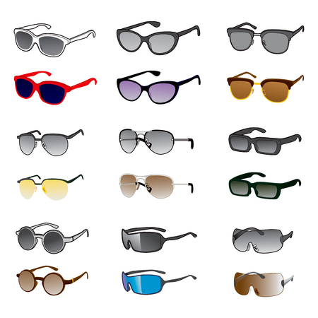 rimless: Nine different sunglasses styles on black and white and color version
