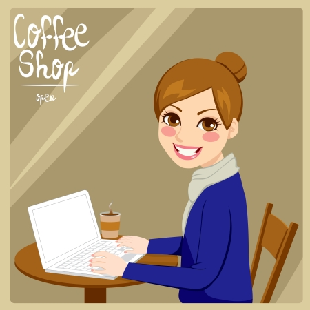 woman using laptop: Beautiful hipster style brunette woman enjoying hot coffee with her laptop in a coffee shop Illustration