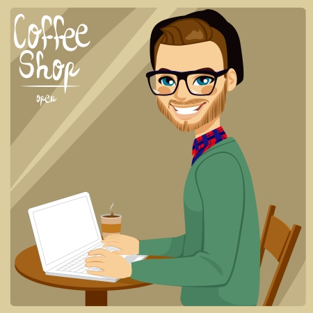 desk work: Attractive brown haired hipster style man with his laptop enjoying a hot coffee in coffee shop