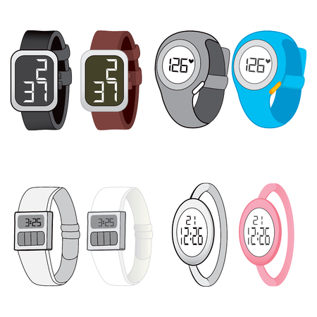 bracelet: Four different digital watch design styles on black and white and color version