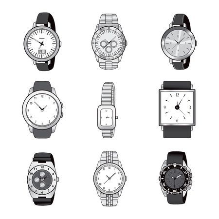 wristwatch: Nine different wristwatch icon designs in black and white color