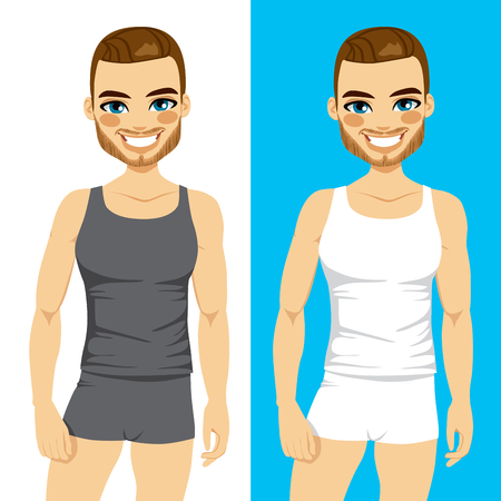 man underwear: Two color version of a man wearing interior tank top and boxer underwear