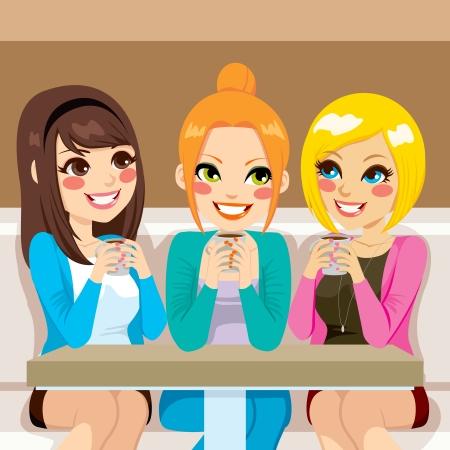 pessoas: Tr�s mulheres bonitas falando amig�vel no caf� ao beber bebidas quentes