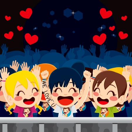 Group of happy fans in music concert having fun and enjoying the idol singer performance Vector