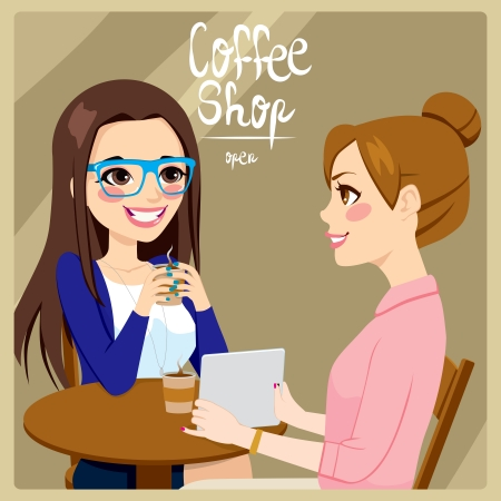 Two young women friends drinking coffee and enjoying relaxing time talking while watching a tablet computer