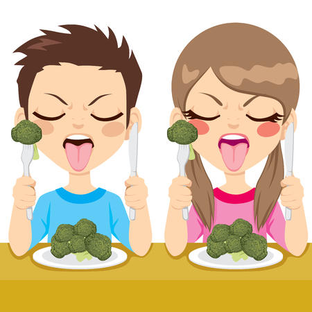 disgusted: Young kids sitting on dinner table eating healthy broccoli making funny disgusted face Illustration