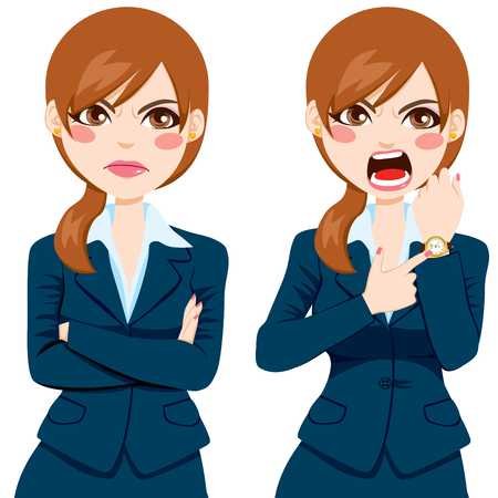 tired cartoon: Arriving late concept, angry businesswoman pointing finger to her wristwatch showing the time and yelling