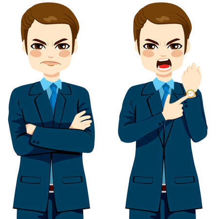 angry look: Arriving late concept, angry businessman pointing finger to his wristwatch showing the time and yelling Illustration