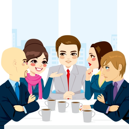 Small business team discussing new projects and documents at office while drinking coffee Illustration