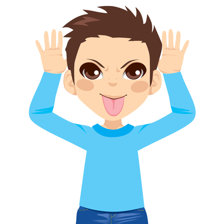 Little boy making mocking expression with hands on head side and sticking out tongue Vector