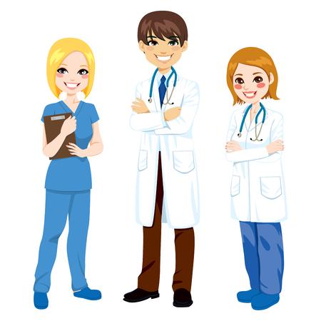 Ilustración de tres trabajadores del hospital de pie con los brazos cruzados en uniforme