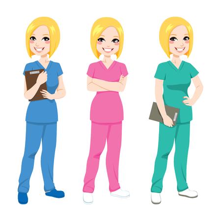 세 가지 다른 색 스크럽 유니폼 포즈 아름 다운 행복 금발의 간호사