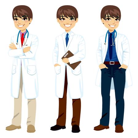 Doctor de sexo masculino profesional joven en tres poses diferentes con bata blanca