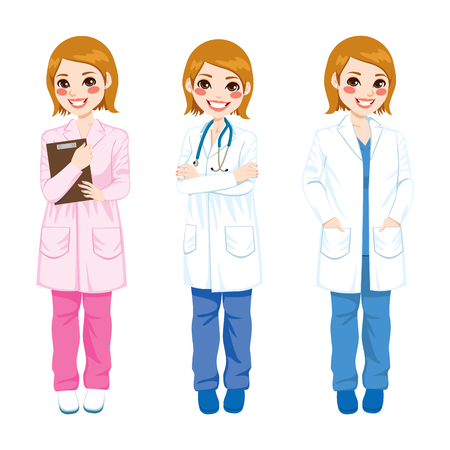 Beautiful young female doctor on three different poses and different color uniform