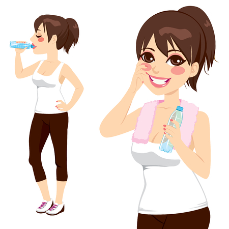 girl drinking water: Beautiful brunette holding a bottle of water and drinking after sport exercise