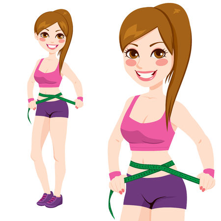 measuring: Fit sporty woman in sports top and shorts measuring her waist after exercising and diet