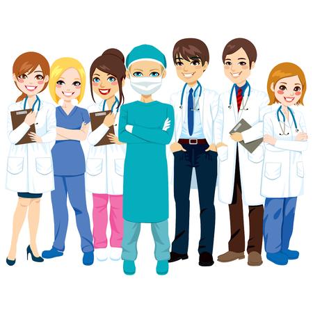 Ziekenhuis medisch team groep van artsen, verpleegkundigen en chirurg staan lachend met de armen gekruist Stock Illustratie