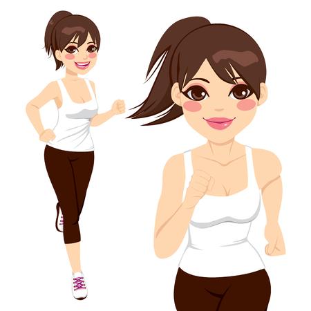 Mooie gelukkige sportieve vrouw die op twee verschillende poses