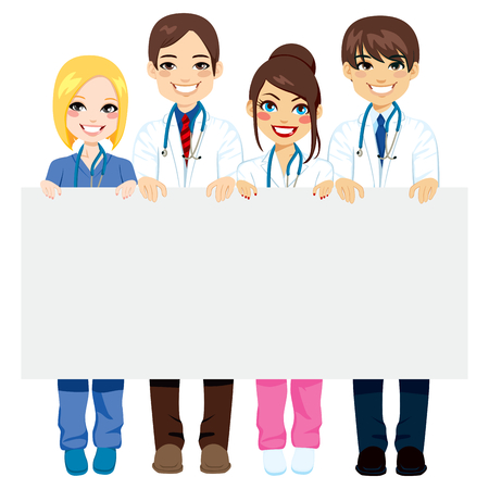 infermieri: Operatori sanitari gruppo di medici e infermieri in possesso di un cartellone bianco Vettoriali