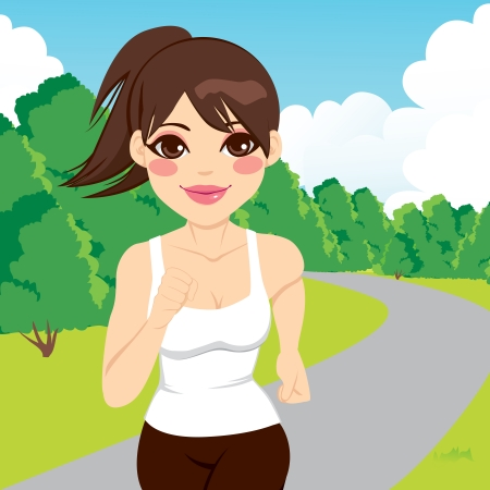 outdoor fitness: Beautiful happy young jogging woman running outdoors in park Illustration