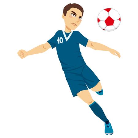 kicking ball: Ilustraci�n de un jugador profesional de f�tbol pateando pelota macho activo