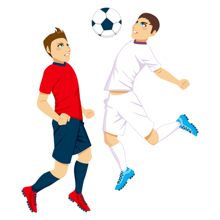 Two football players jumping to fight for the ball Vector