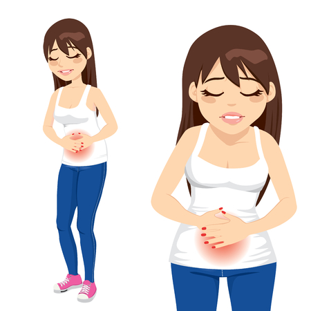 diarrea: Bonita chica morena que sufren de dolor de estómago severo